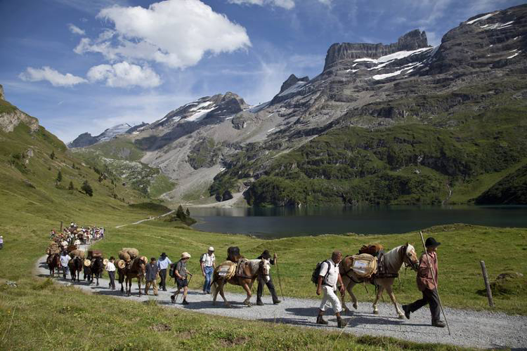 Sbrinz-Route mit Säumern über die Pässe