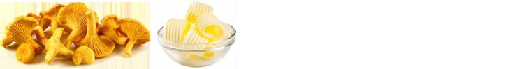 Zutaten zu den Pappardelle-Rezept:  Pfifferling und Butter