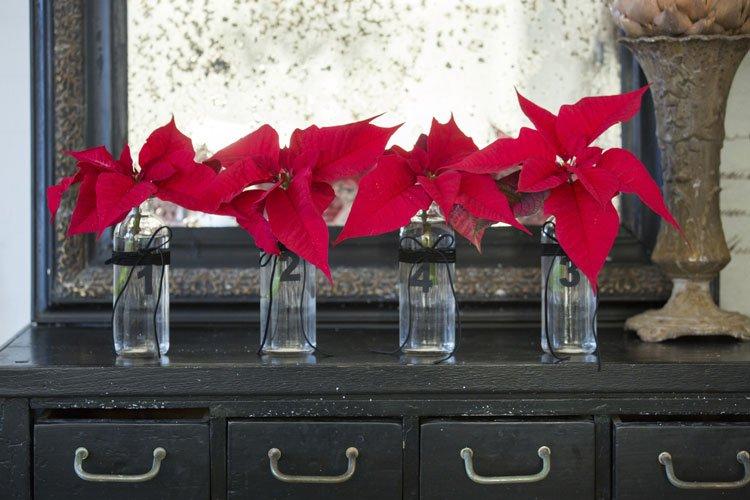 Vier Gläser als Adventsdekoration
