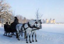 Schneekutsche in Weihnachten in Russland