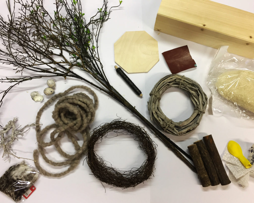 Benötigtes Material für die Osterdekoration