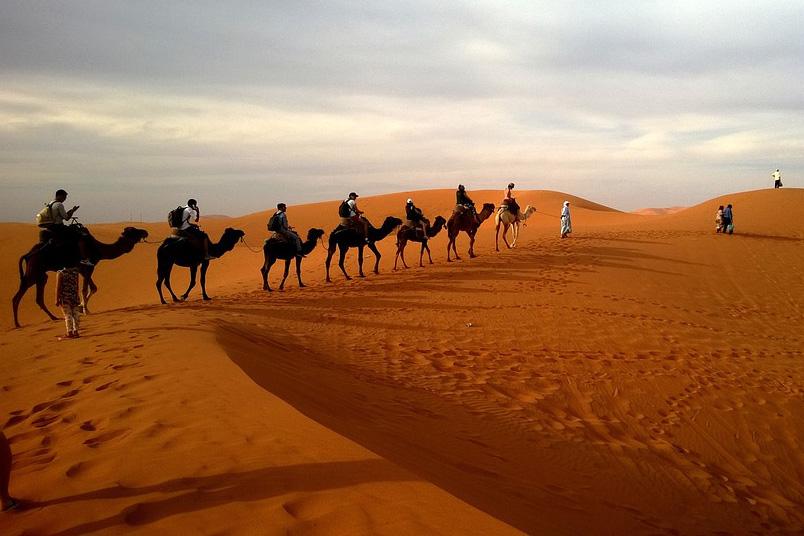 Salz-Caravane in der Wüste