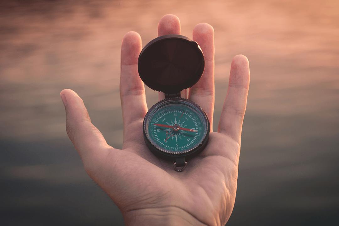 Weg mit Kompass festlegen.
