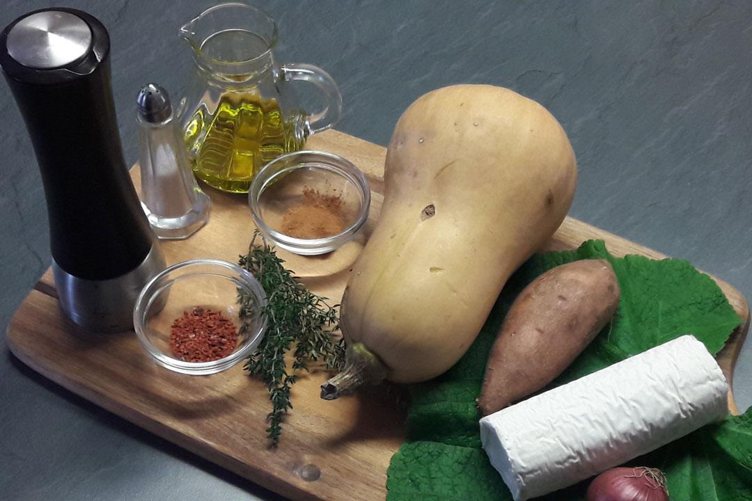 Zutaten für gebackener Kürbis mit Ziegenkäse
