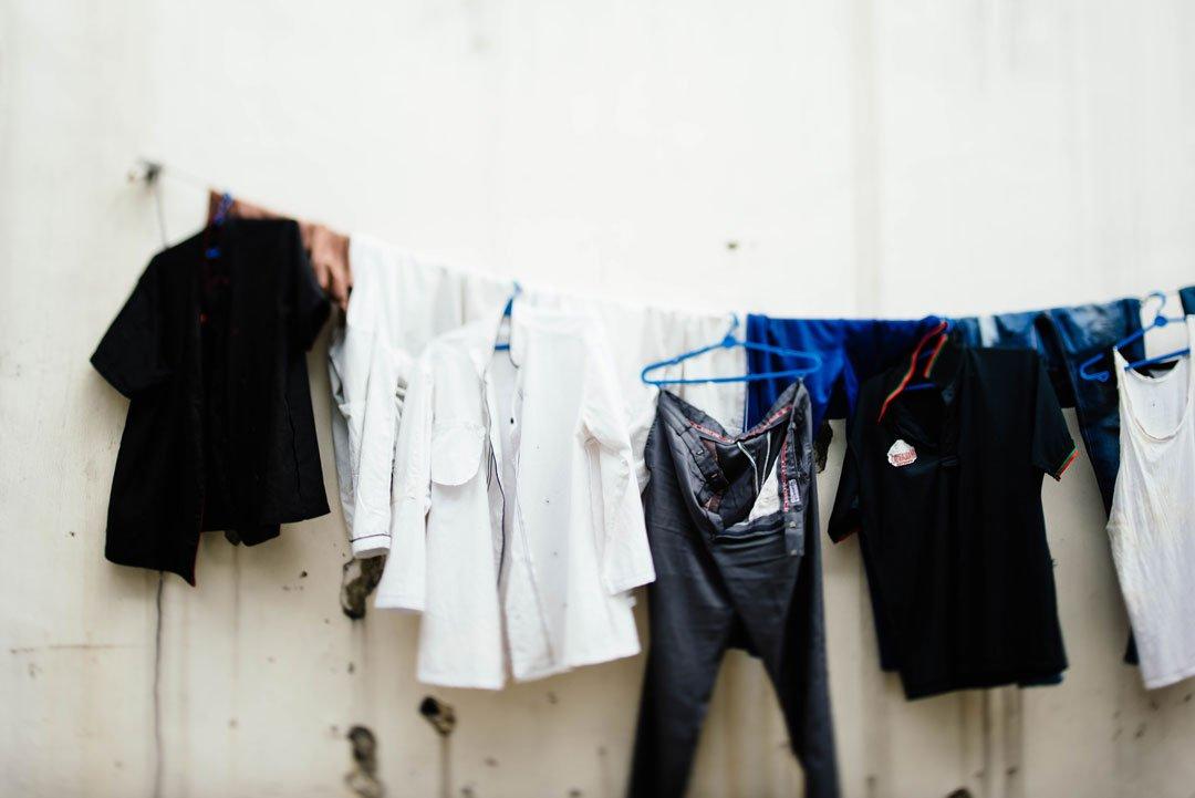 Wäsche machen in der Waschküche