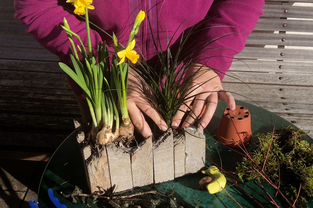 Frühlingsgesteck liebevoll arrangieren