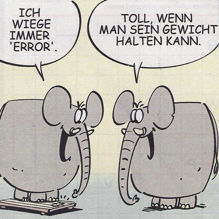 Comiczeichnung mit zwei Elefanten, der eine steht auf einer Waage