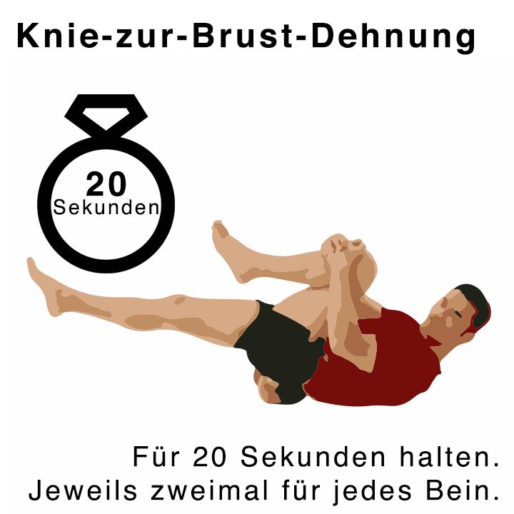 Knie zur Brust Dehnübungen für 20 Sekunden
