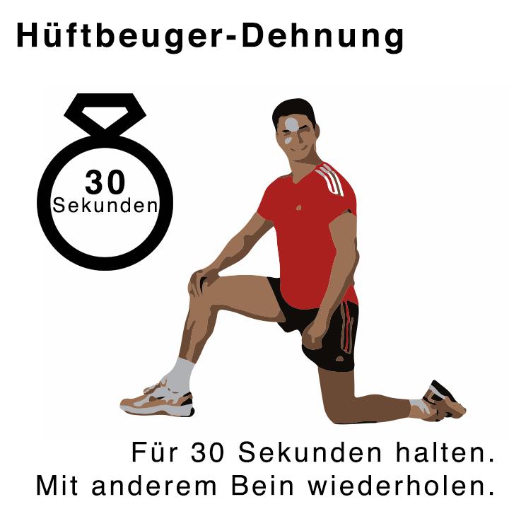 Hüftberger-Dehnübung für 30 Sekunden