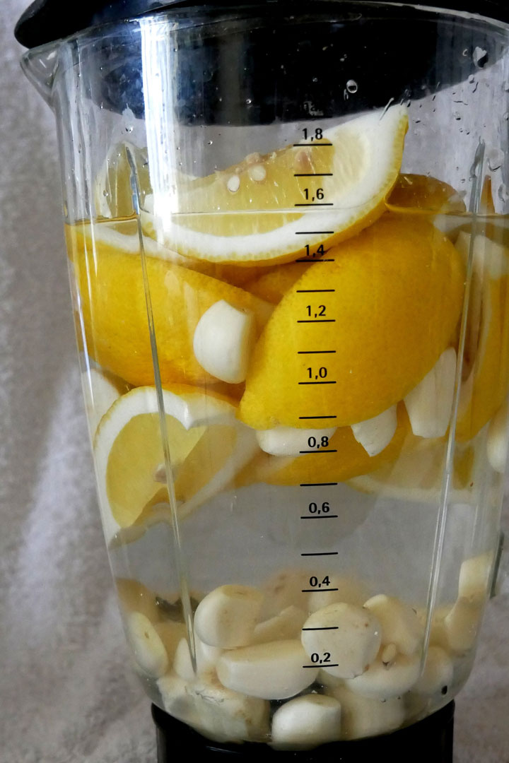 Mixer mit Knoblauch und Zitronen