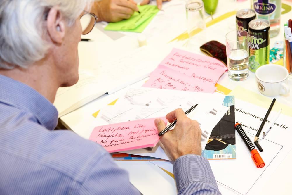 In einer Gruppe werden zu einem zufällig ausgewählten Reizwort Fragen und Ideen formuliert.