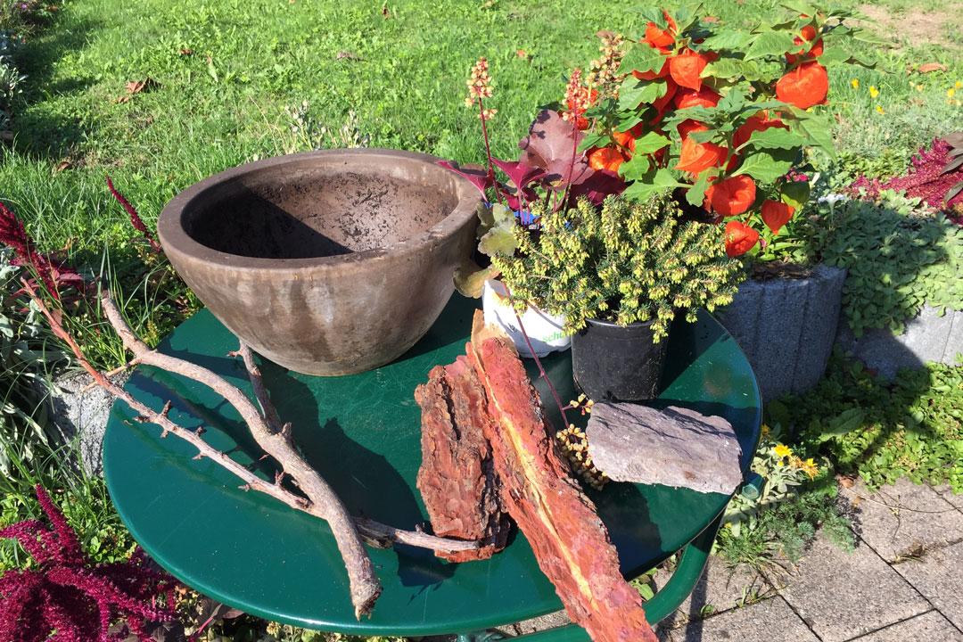 Notwendige Materialien für die Bepflanzung einer Pflanzschale
