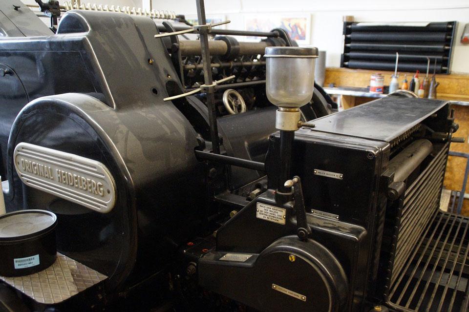 Alte Druckmaschine in der Druckerei
