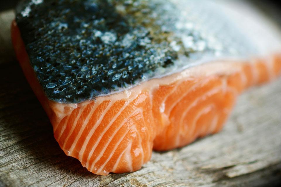 Ein rohes Stück Lachs enthält viel Antioxidanzien
