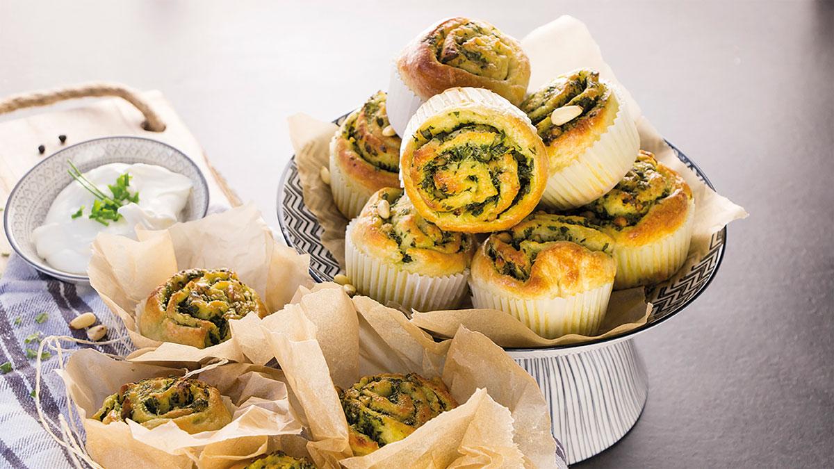 Frische Kartoffel-Bärlauch-Muffins, die selber zubereitet wurden