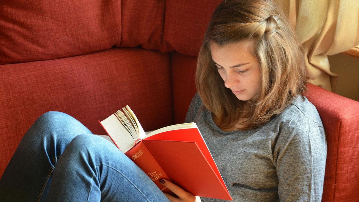 Eine Junge Frau liest rückenfreundlich ein Buch auf der Couch