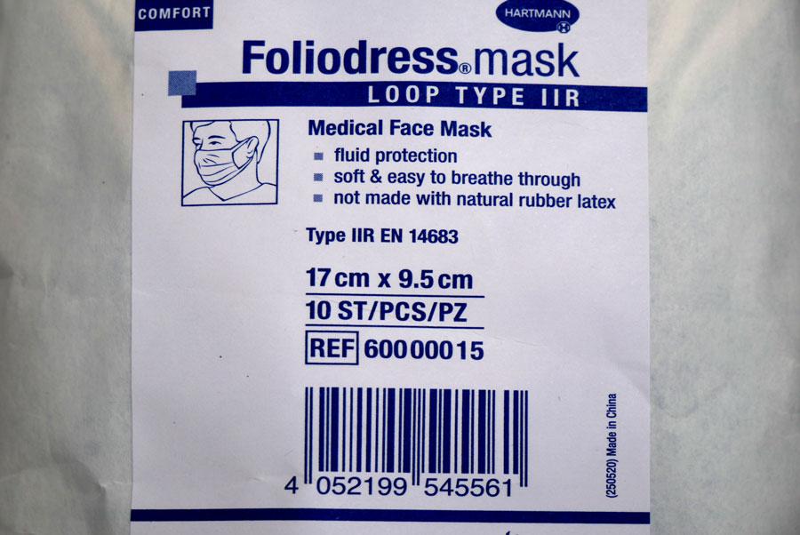 Etikett einer medizinischen Maske