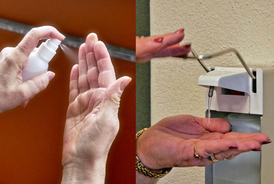 Hände werden einmal mit Spray und einmal mit Dispenser desinfiziert