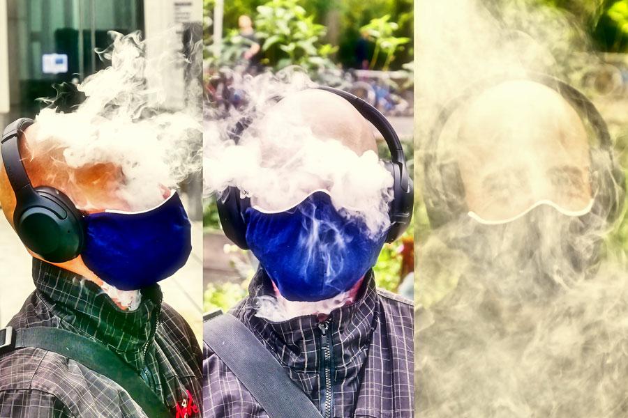 Masken-Test: wie sich Aerosole verteilen
