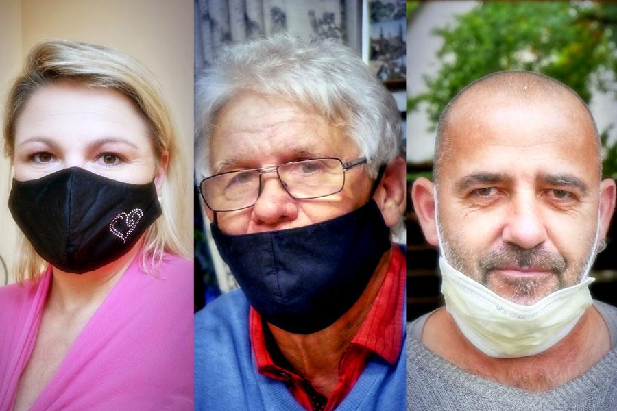 Drei unterschiedliche Tragweisen der Alltags-Masken