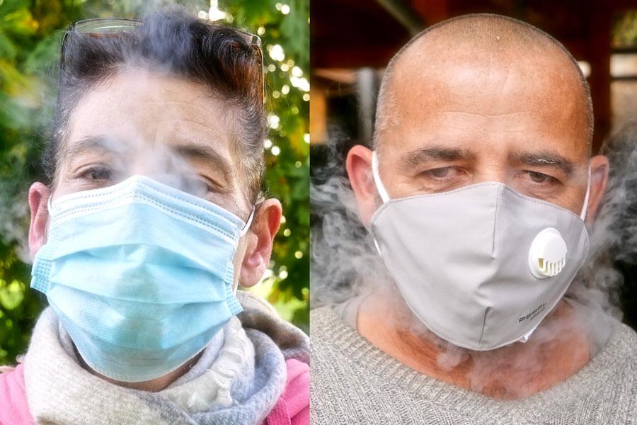 Vergleichsbild einmal mit Einmalmaske und Maske mit Ventil