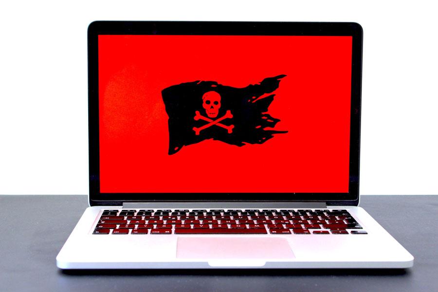 Laptop, der von der Cyber-Pandemie betroffen ist