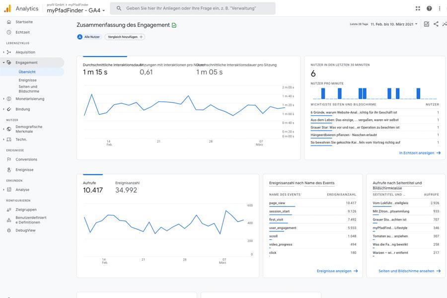 Dashboard Websiet-Analyse Engagement