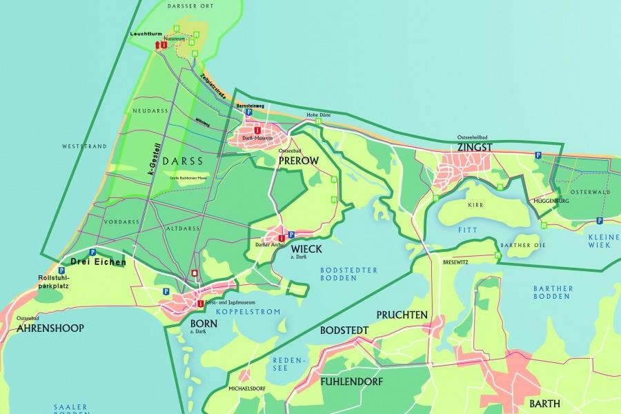 Karte des Nationalparks Vorpommersche Boddenlandschaft